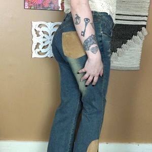 VINTAGE / HIGH WAIST PATCH FLARED JEANS